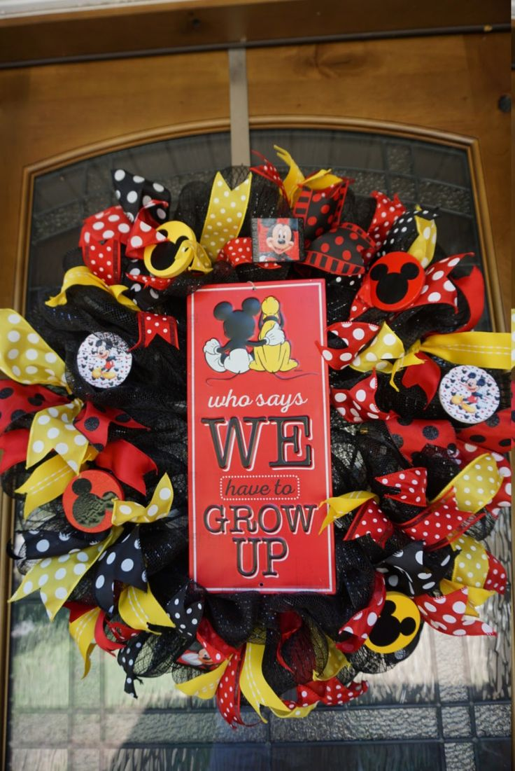Mickey Wreath, Mickey Mouse Wreath, Disney Wreath, Classroom Wreath, Mickey Decor by Texascaseyscreations on Etsy