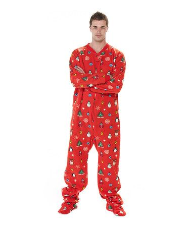 Take a look at this Red Holly Jolly Christmas Footie Pajamas - Adults by Footed Pajamas on #zulily today!