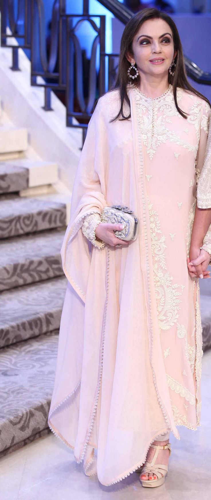 Suit by Anamika Khanna on Nita Ambani | baby pink suit with white threadwork | Lakme Fashion Week Summer Resort 2015 | thedelhibride Indian weddings blog