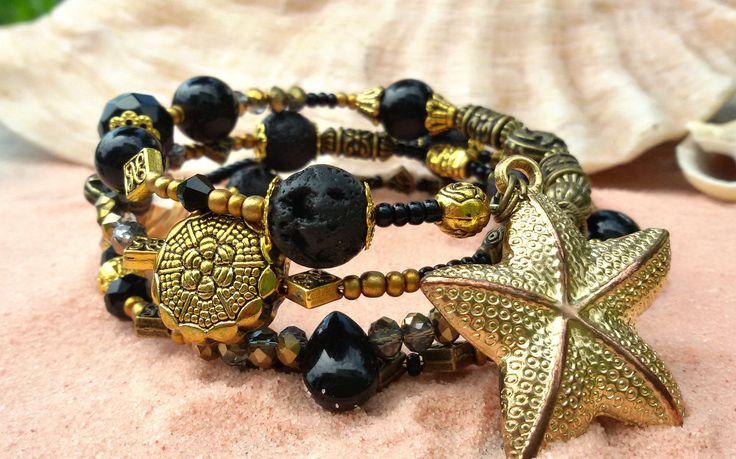 Bracciale spirale nero dorato pietre dure semi preziose stelle marine mare, by Evangela Fairy Jewelry, 15,00 € su misshobby.com
