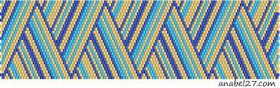 Схема полосатого браслета, мозаичное плетение