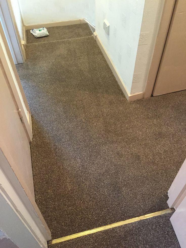 Best Dark Brown Beige Landing Carpet Fitted In Stockport 640 x 480