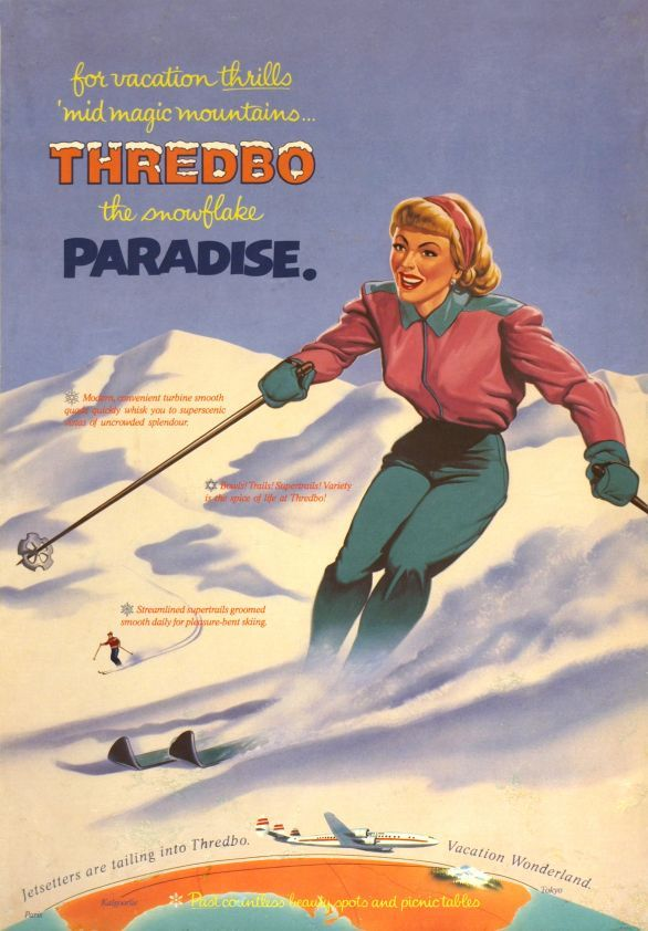 vintage ski poster for Thredbo, Australia 1957. My first visit first week Sept 2013