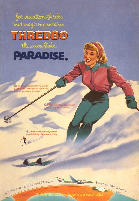 vintage ski poster for Thredbo, Australia 1957