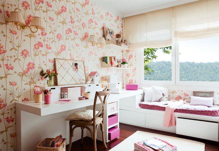 Grau Weißes Zimmer Rosa Deko Muster Shabby Tapeten An Der Wand