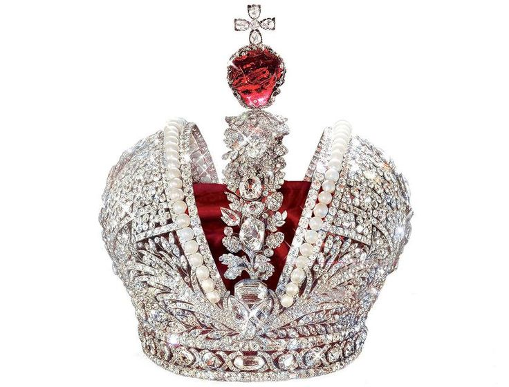Russian Great Imperial Crown, first worn by Catherine the Great; the diamond-encrusted crown holds the second largest spinel in the world, a red spinel weighing 398.72 carats.