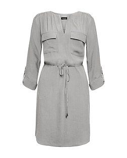 Pale Grey Roll Sleeve Shirt Dress  | New Look