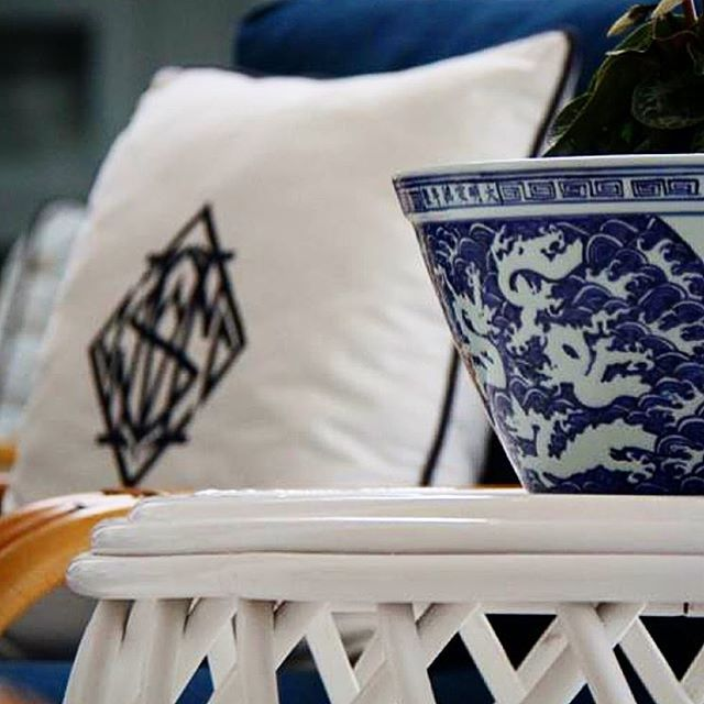 The MONOGRAM PILLOW - Mix & Match the Stuart Membery Pillow Collection for a personal range of expression  #shoponline #shipworldwide 🚐📦 #chinoiserie #blueandwhite #stuartmemberyhome