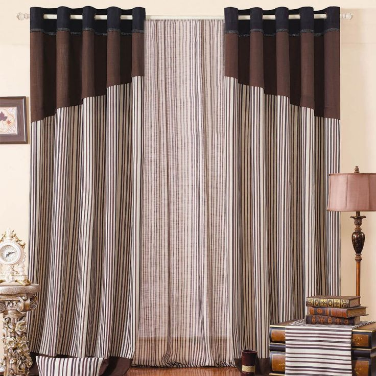 Striped Mediterranean Brown Energy saving Curtains  #curtains #stripe #modern #cotton #custommade #homedecor #decor