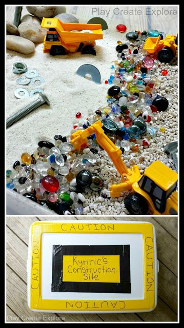 What a cool construction site sensory bin gift