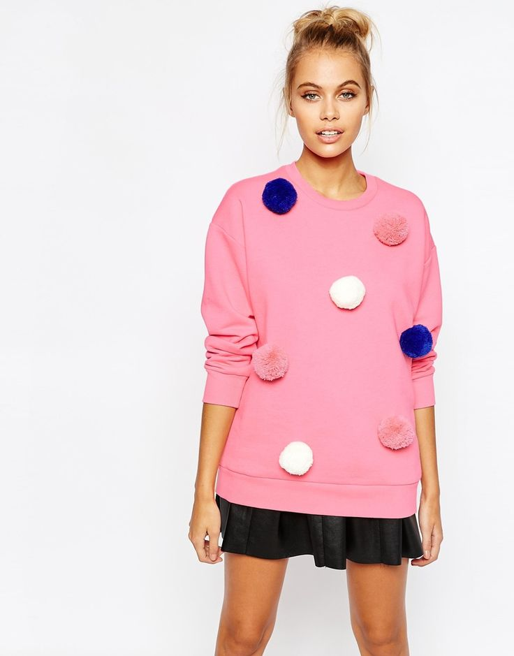 Image 1 of Mini Cream Jumper With Pom Poms