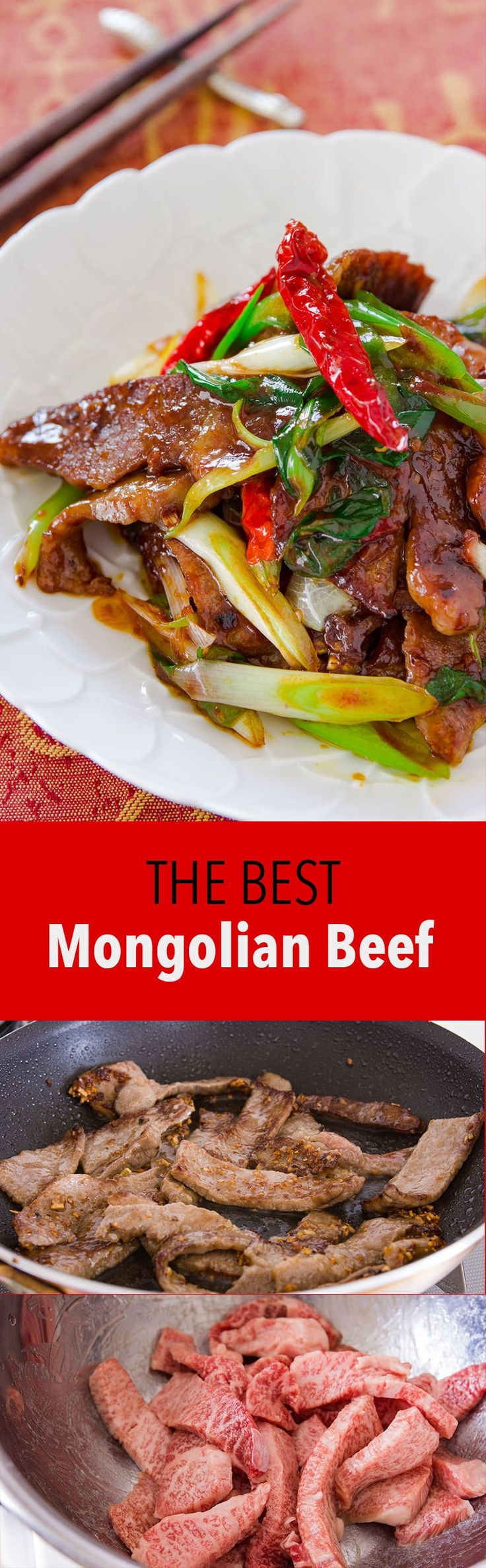 While not a Mongolian dish, Mongolian beef is a delicious Chinese-American classic with beef, garlic and scallions stir-fried with Hoisin sauce.