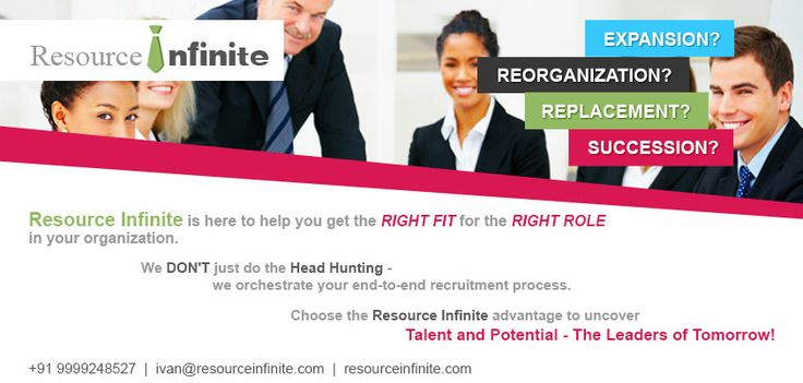 Resource Infinite, a Management Consultancy Organization, has been focusing on providing Human Resource to its clientele since 2010.We provide appropriate business entities –the Managers and the Leaders, who facilitate in achieving your business goals and strategies. We provide exclusive Training Sessions that prepare and groom the professionals for your job.  Know more about us at: http://resourceinfinite.com/about.php