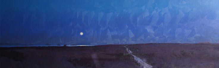 Tom Rickman - Moon over St Martins. Oil on canvas 26 x 82 cm