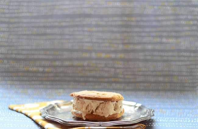 Banana Ice Cream Sandwiches with Peanut Butter Cookies