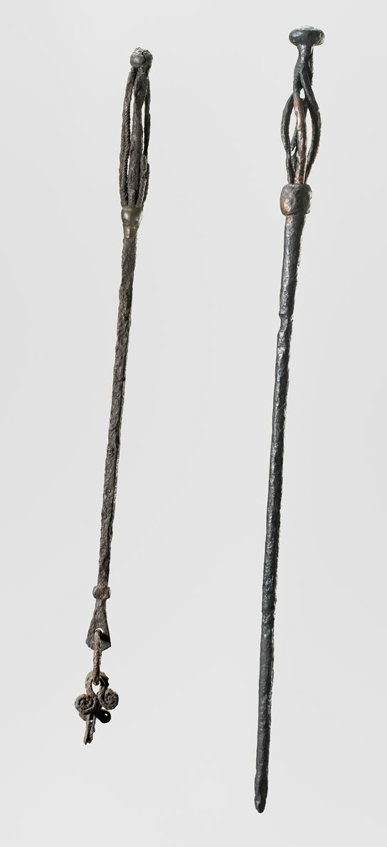 Objects of this type have been interpreted as staffs used by Viking sorceresses. From Gavle, Sweden (left) and Fuldby, Zealand, Denmark (rig...