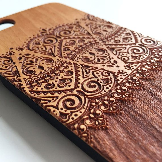 Lace floral real wood engraved iPhone 6 case iPhone by Darkoolart