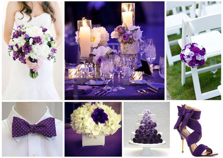 Boda en color morado con blanco ideas decoraci n - Decoracion para bodas sencillas ...