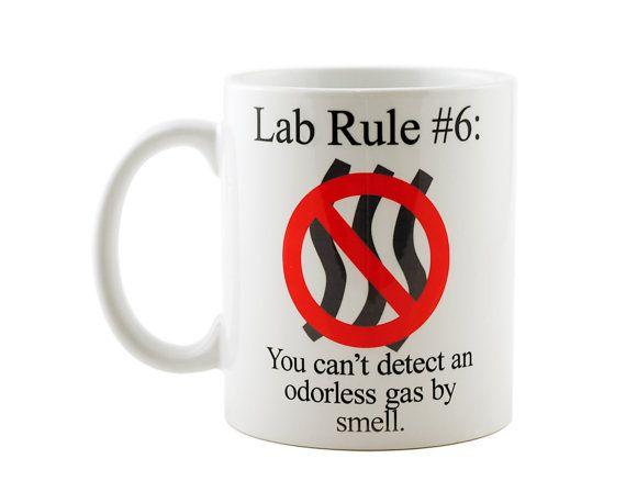 Fun ! https://www.etsy.com/listing/210531915/lab-rule-6-funny-science-chemistry