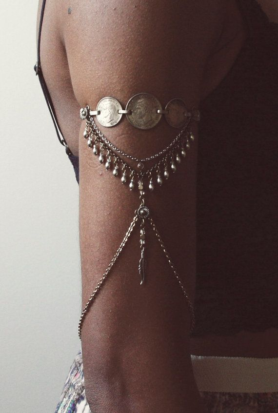 Arm Chain Armlet Upper Arm Chain Vintage by xTarnishedx on Etsy