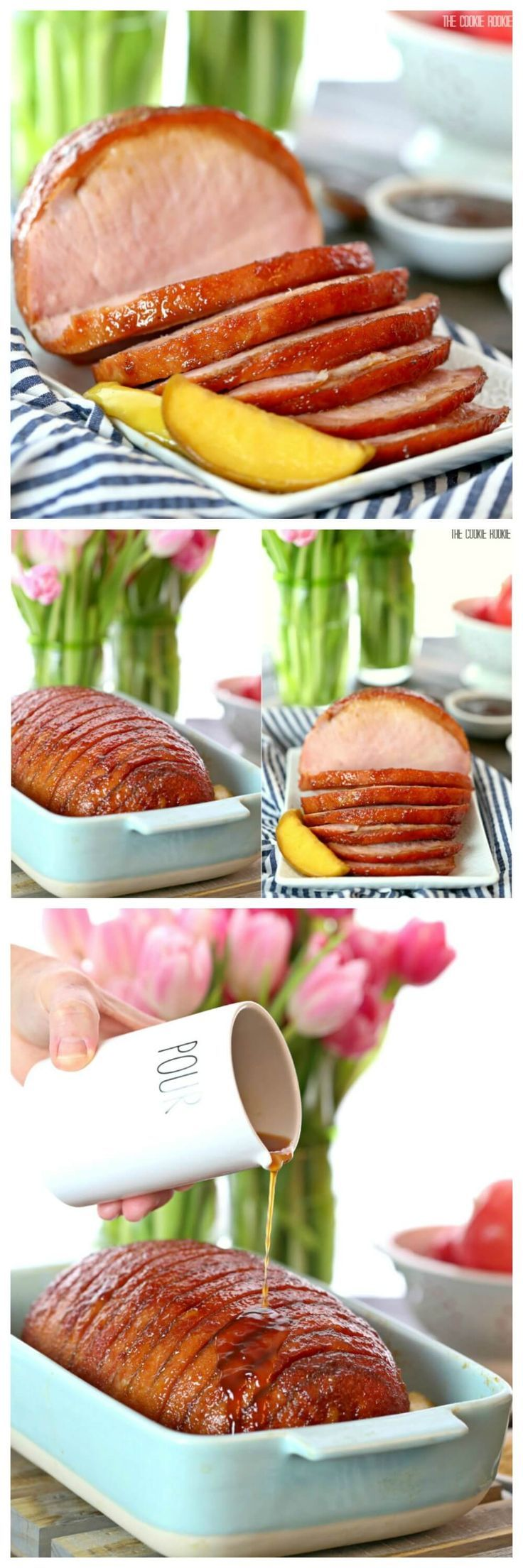 Apple Ginger Glazed Ham, the perfect go-to glaze recipe for any holiday! We make this for Easter, THE BEST GLAZED HAM you'll ever eat!