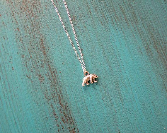 Little Grizzly Bear Necklace Tiny Bear by MoonTideJewellery