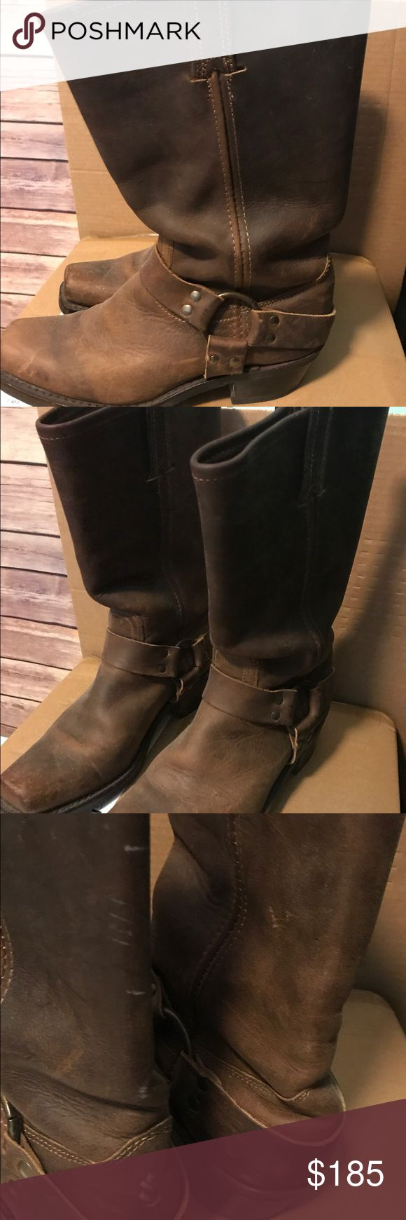 Frye harness boots 8 1/2 Frye harness boots 8 1/2. Good condition. Small scratches on the back see pic n Frye Shoes Combat & Moto Boots