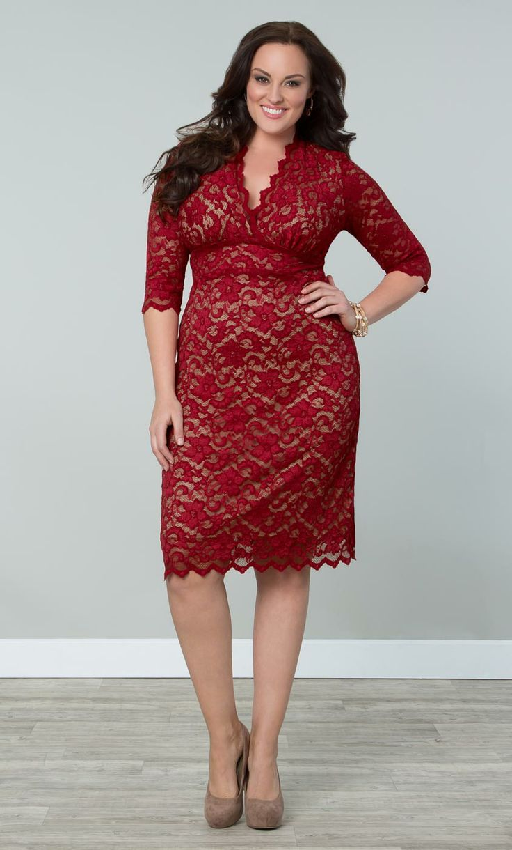 Red lace dress plus size  Scalloped Boudoir Lace dress  Shoes and other things I might wear