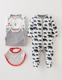 Washed Indigo Bears/Stripe New Baby 4 Piece Gift Set Boden