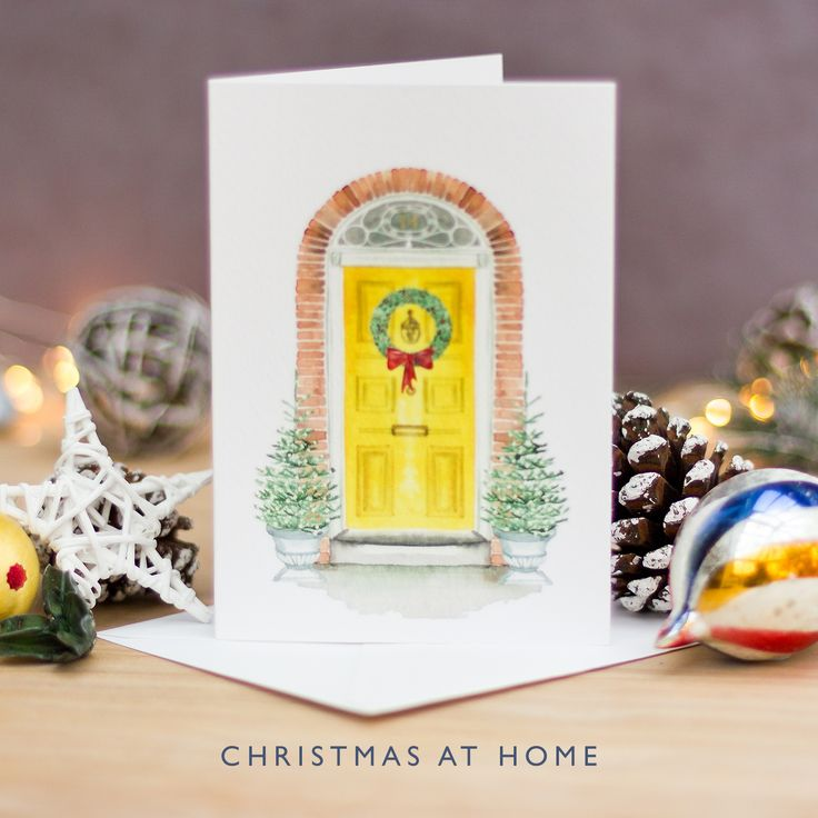 Hand Painted Christmas Card | Watercolour | Festive Front Door | Christmas at Home | Nostalgic Christmas