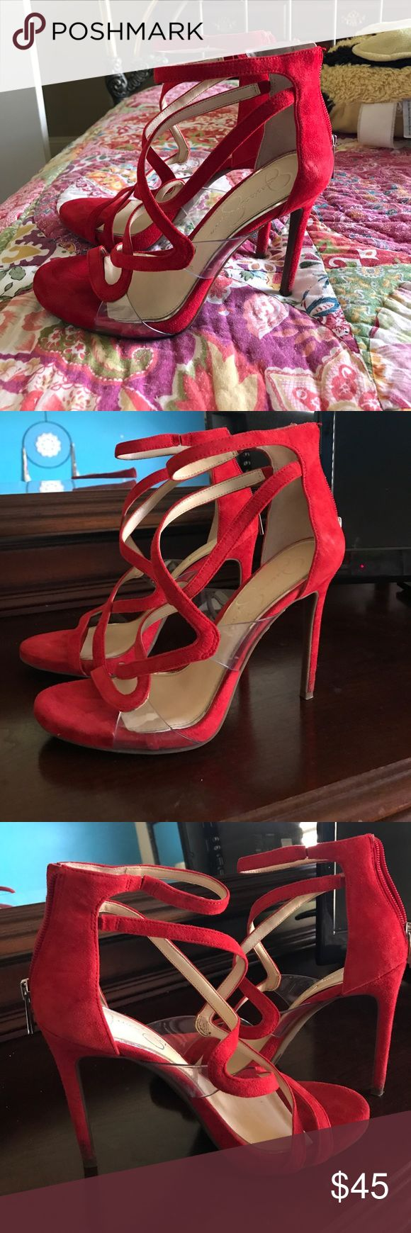 Jessica Simpson Red Heels Jessica Simpson, Red felt material heels! Only worn to one event and in perfect condition! Jessica Simpson Shoes Heels