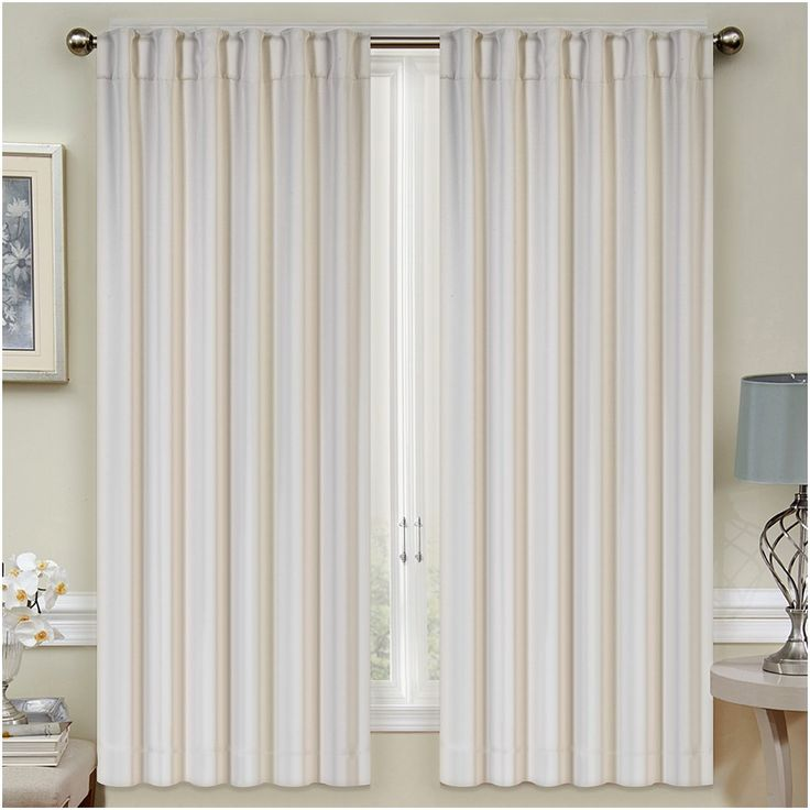 "Mellanni Thermal Insulated Blackout Curtains - 2 Panels - Window Treatments / Drapes for Bedroom, Living Room with Pole Top, 7 Back Loops and 2 Tiebacks (2 Panels, 52"" x 63"" Each, Beige)"