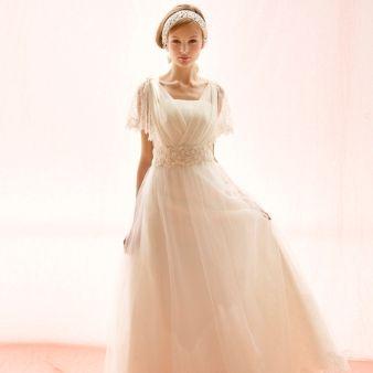 ブライダルハウスTUTU(チュチュ):【アメリア】可愛らしいレースの袖付き2Wayドレス☆