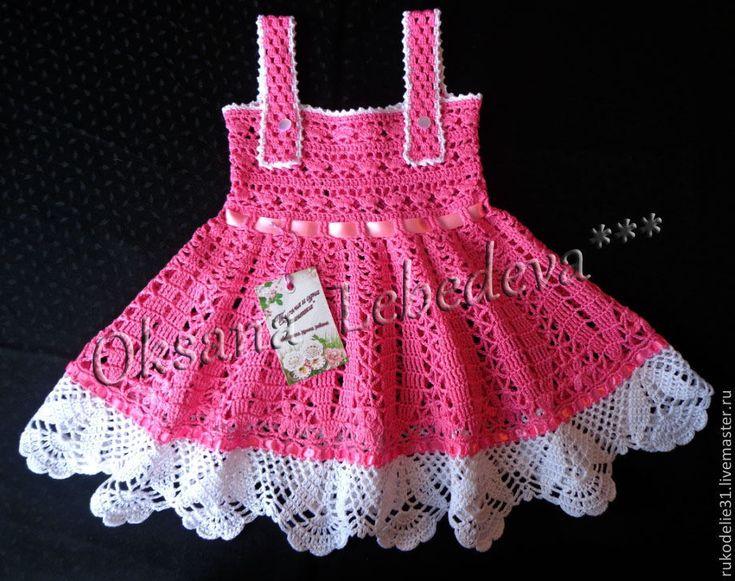 Купить Детское вязаное крючком платье из хлопка сарафан для девочки розовый - розовый, сарафан крючком