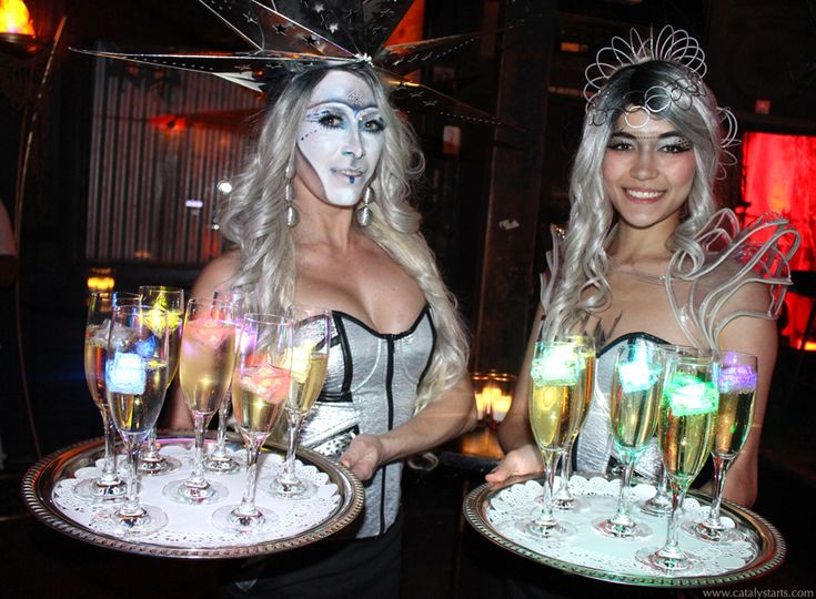 futuristic space waitresses- costumed champagne hostesses by Catalyst Arts Eventertainment SF