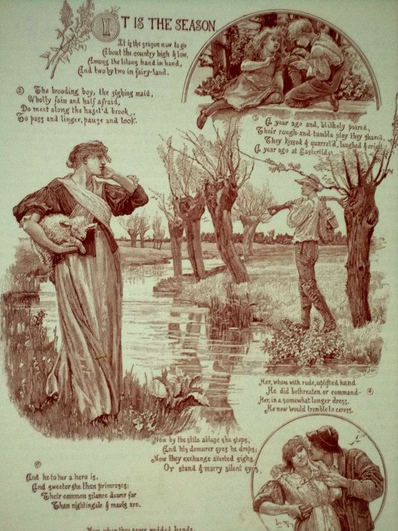 Antique Engraving It is the Season Poem by by MushkaVintage3