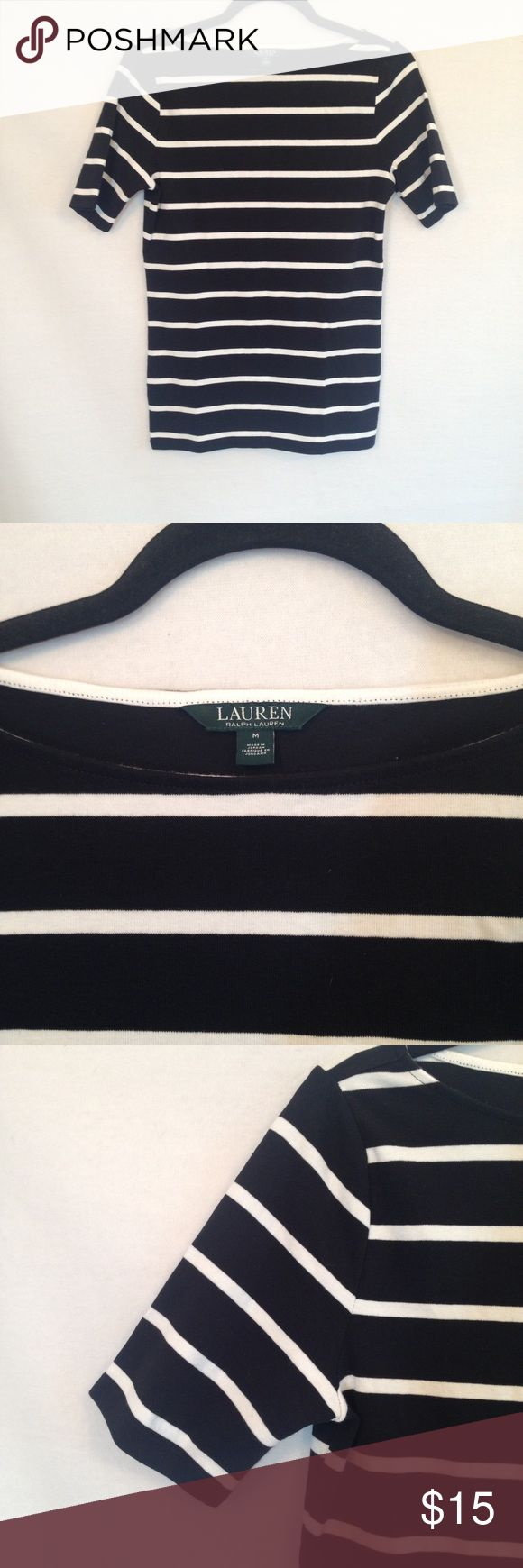 """Ralph Lauren black and white striped top size med Great staple striped top by Ralph Lauren. Black and white stripes. Short sleeves. Slightly wide neckline. Fabric/Care tag on side has been cut out so material is unknown. Good condition.     armpit to armpit: approx 18"""" length: approx 25.5"""" Lauren Ralph Lauren Tops Tees - Short Sleeve"""