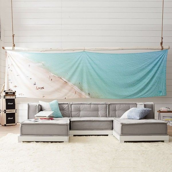 PB Teen Panoramic Beach Scene Tapestry ($45) ❤ Liked On Polyvore Featuring  Home, Part 92