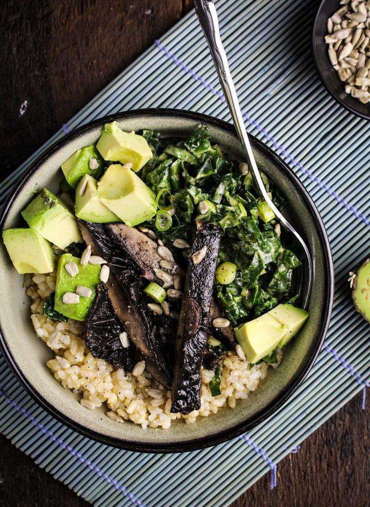 Tahini Kale Slaw and Tamari Roasted Portobello Bowl {Katie at the Kitchen Door}