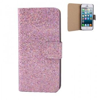 Belt Sequins Leather Case for iPhone 5 - Pink