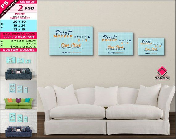 Wall Display Guide 20x30 16x24 12x18 Scene Creator Photoshop Print Mockup Vertical Horizontal Canvas White Blue Sofa Interior 34 3c Mockup Free Psd Print Mockup Wall Display