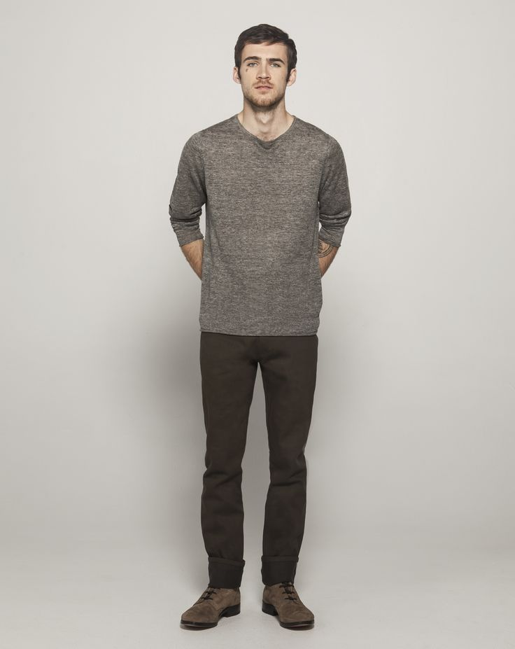 Fully Fashioned L/S Linen Crew Neck (Charcoal Marle)  Yarn Dyed Selvedge Straight Leg (Khaki - Raw)