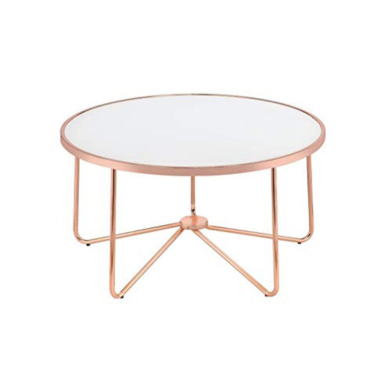 Striking Coffee Table, Frosted Glass & Rose Gold