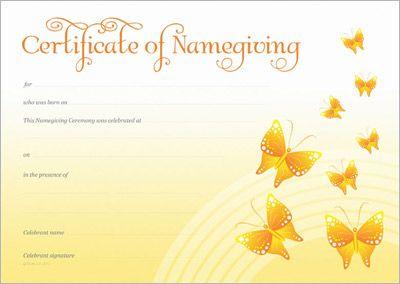 Naming Certificate - Yellow Butterflies design.