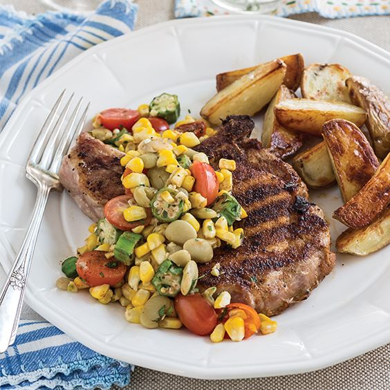 From corn andtomatoes tolima beans andokra, thisGrilled Pork Chops with Summer Succotash recipeis fullof flavor from theseason's most delicious fresh produce.     Save Recipe Print  Grilled Pork Chops with Summer Succotash