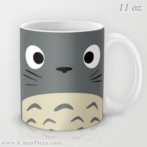 Totoro Kawaii My Neighbor 11 / 15 oz Mug Dishwasher Microwave Safe Cup Tea Coffee Drink Anime Grey Manga Troll Hayao Miyazaki Studio Ghibli
