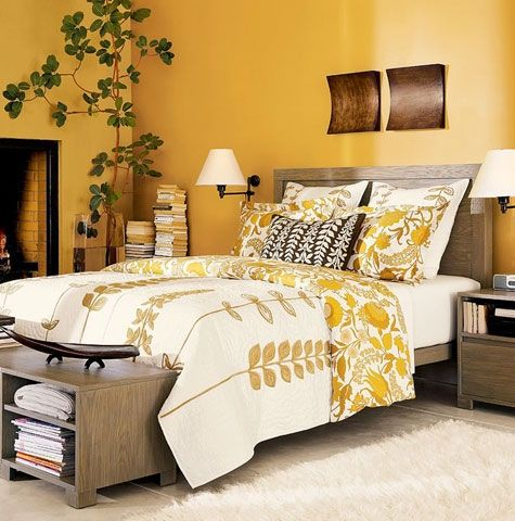 I want to redo our bedroom with a warm inviting yellow like this and incorporate more greenery as well.