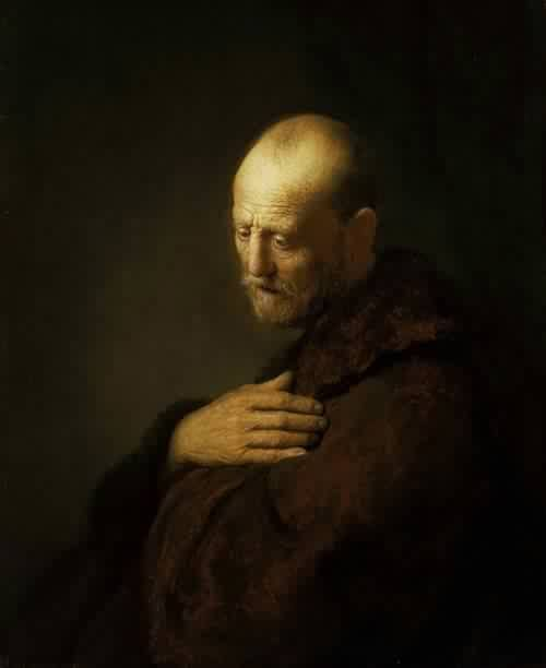Old Man in Prayer-Rembrandt. We all project onto art...that's the point of art. And my projection with this beautiful painting is sadness. More specifially, despair. Almost as if those prayers just weren't helping.