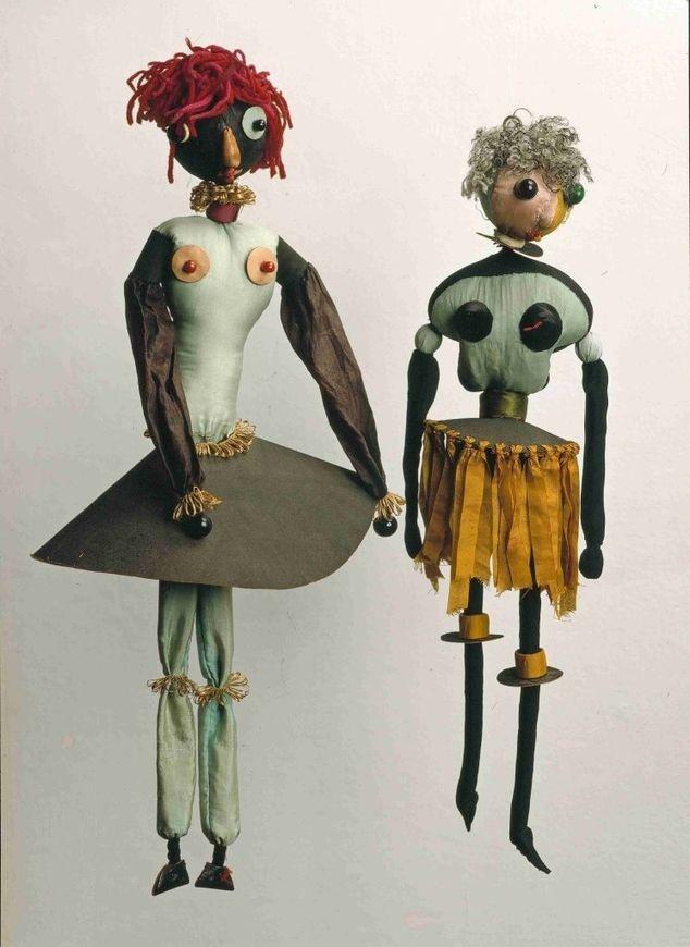 Hannah Höch. Two Dada dolls. 1920 Dada Puppen (Dada Dolls) fabric, yarn thread, board and beads.