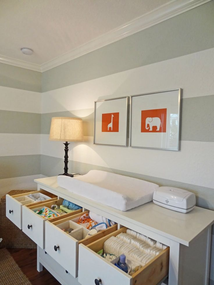 Gray striped nursery with orange accents - drawer organization